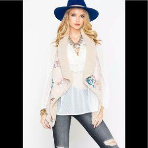 BB Dakota floral faux suede reversible vest